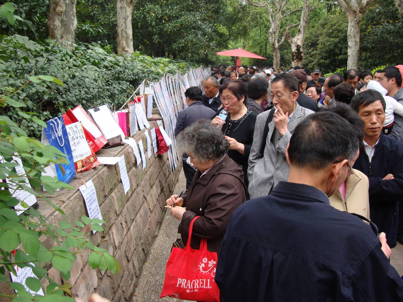 Picture:  People's Square Park, Shanghai.  Parents and Grandparents search the posted ads  for wives and husbands for their children or grand children.