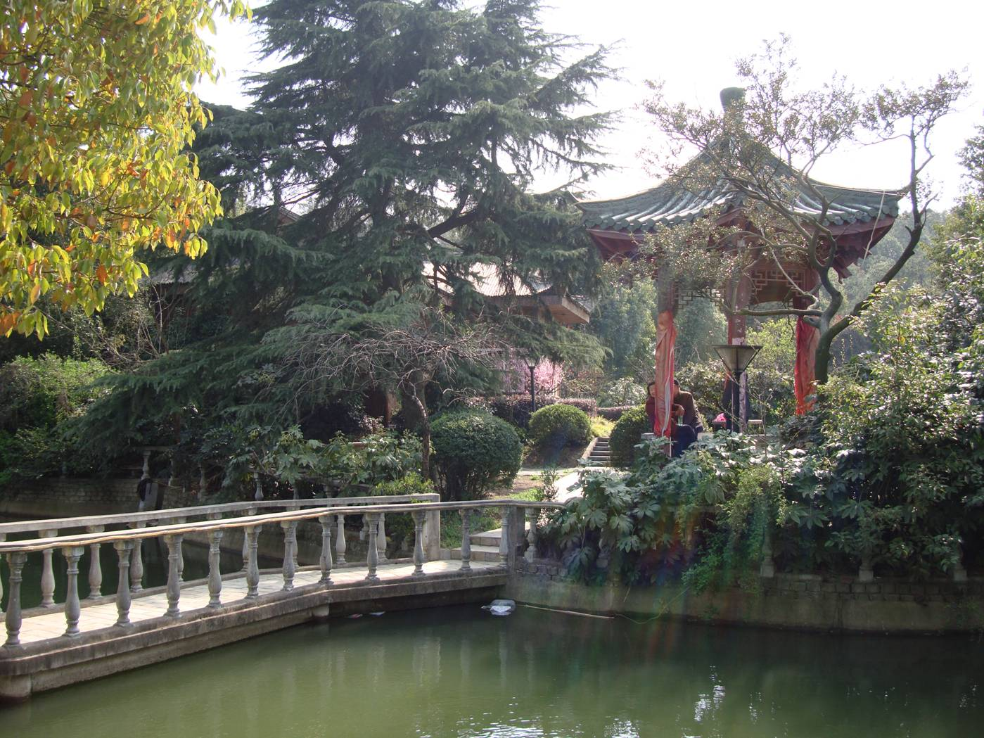 Picture:  A pond and pagoda, part of a hotel complex near Yang Shan, Wuxi, China
