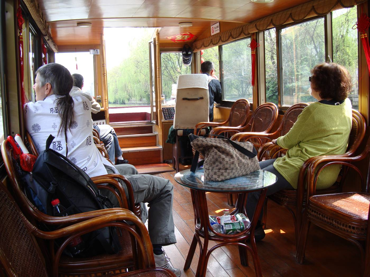Picture:  Ruth and Elaine on board the canal tour boat, Suzhou, China