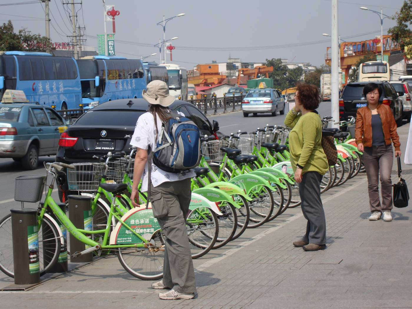 Picture:  Green bicycles for rent on the streets of Suzhou, China