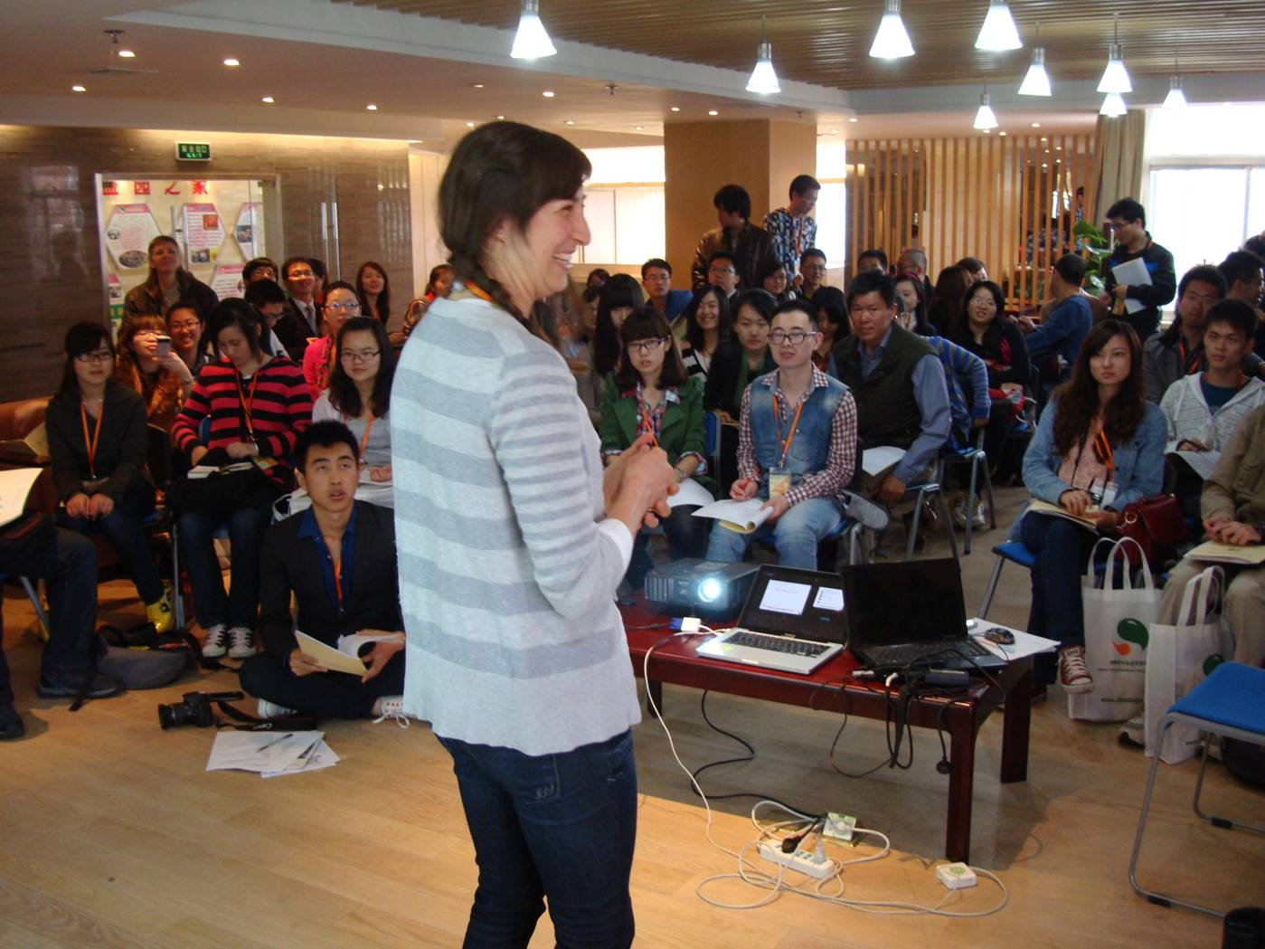 Picture:  Talis, one of the co-founders of Feel Good, gives an inspiring talk at the Chun Hui Youth Charity forum.  Wuxi, China