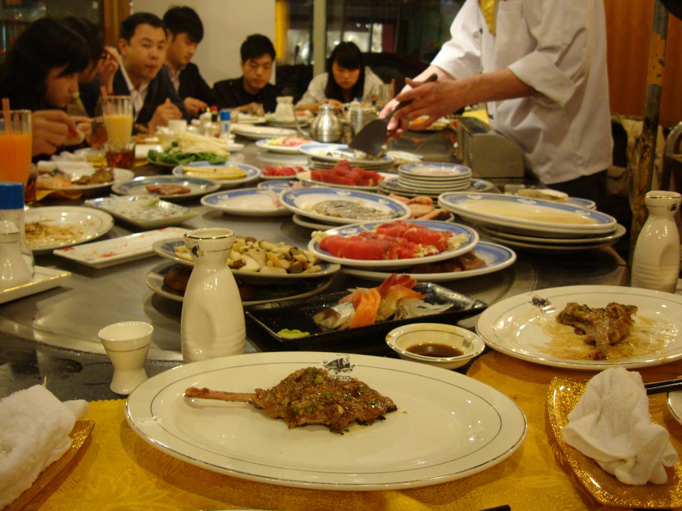Picture:  The food ready to be cooked at our table.  Teppanyaki Restaurant, Wuxi, China