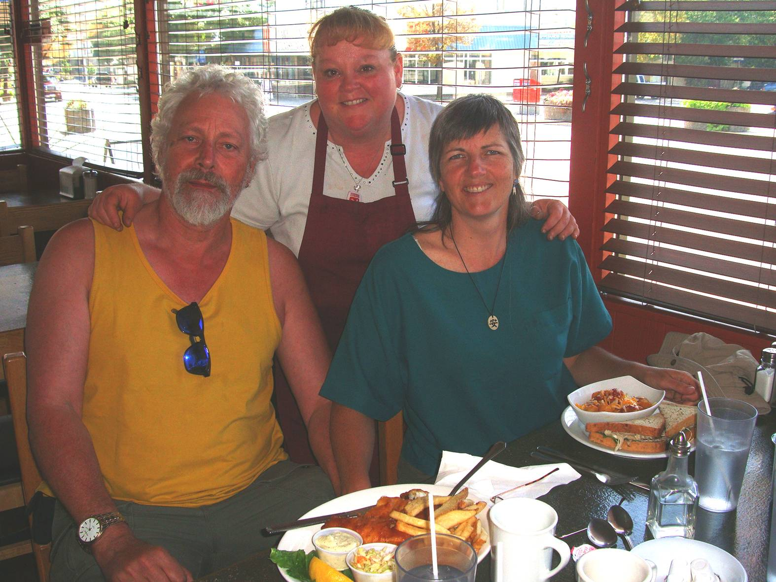 pictire: Karen, owner of Karen's Restaurant in Williams Lake, stopped by our table.  We lavished praise on the food.