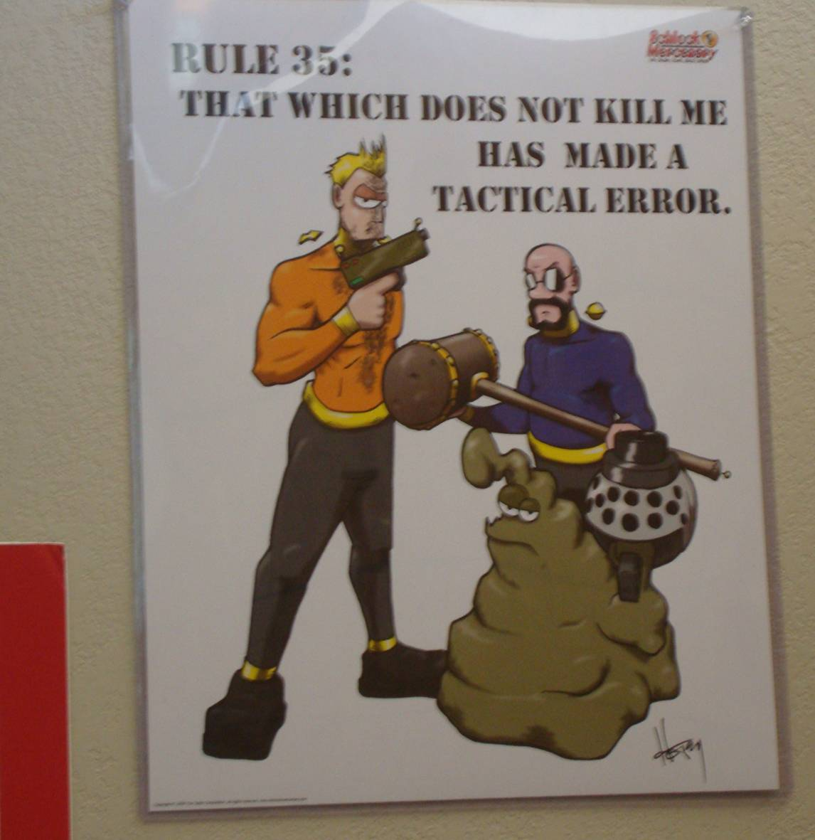 picture: poster for rule 35 of most effective pirates.  That which does not kill me has made a tactical error.