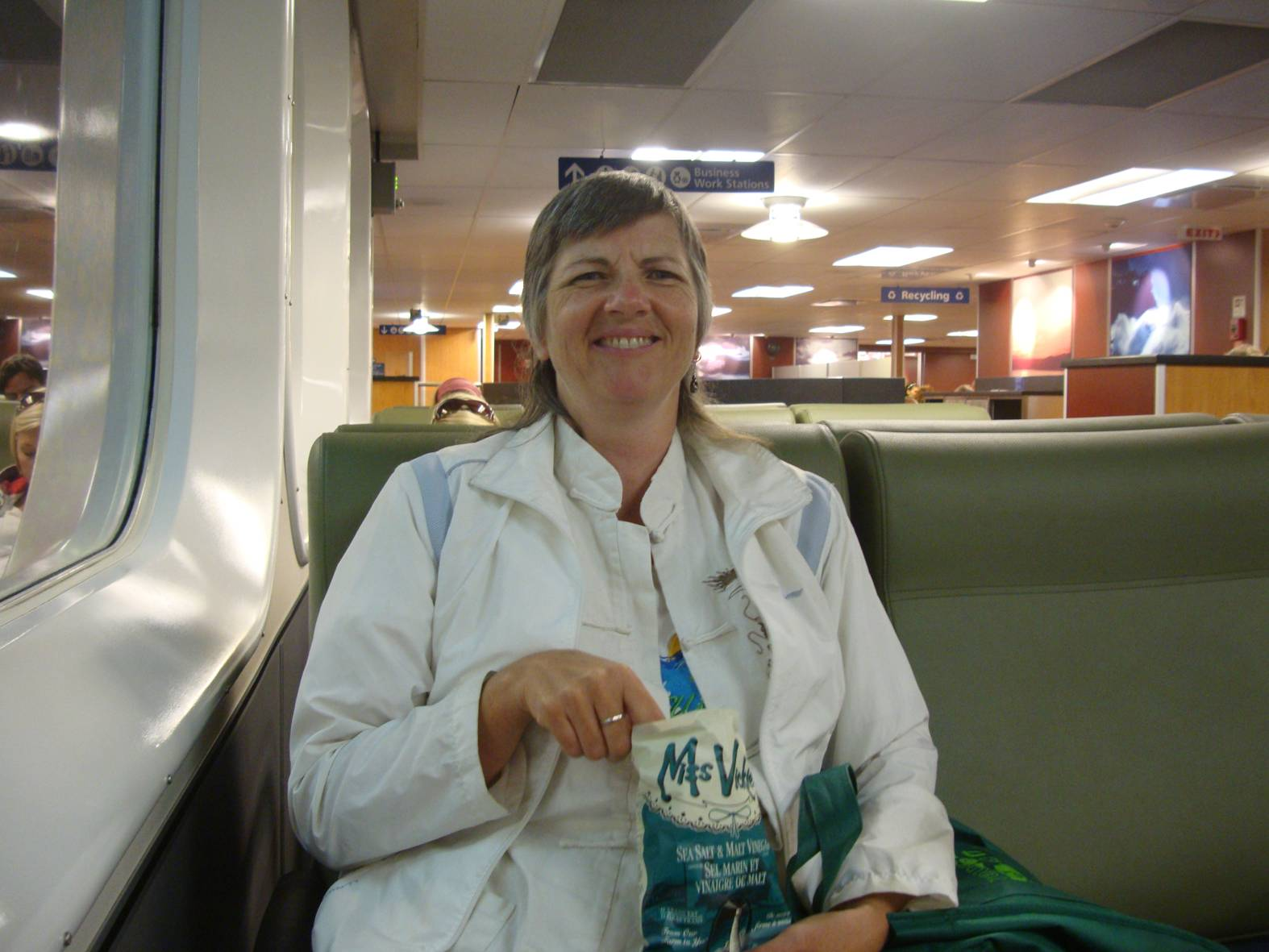 picture:  Ruth enjoys a bag of Miss Vickie's Salt and Vinegar potato chips on the ferry back to Horseshoe Bay, B.C.