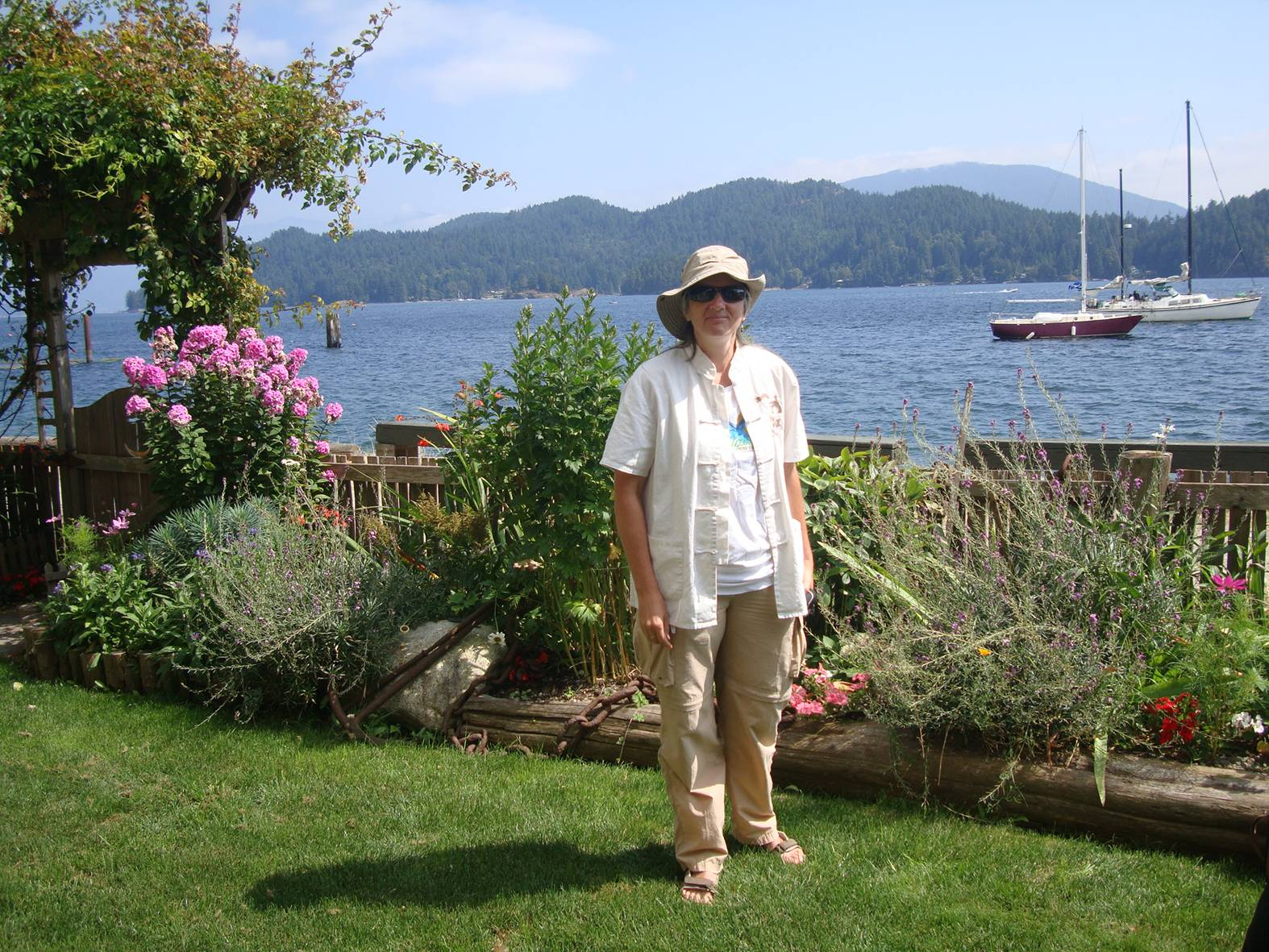 picture:  Ruth is standing in what was once my front yard in Gibson's Landing, B.C.