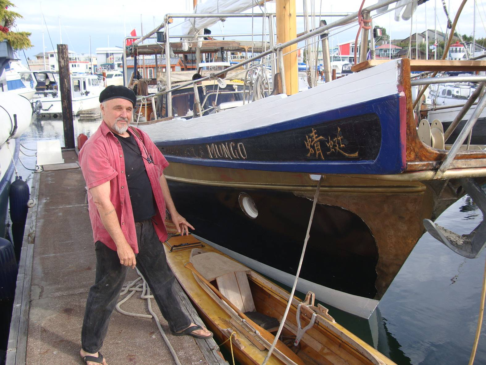 picture:  Godfrey's amazing hand made boat.  Victoria, B.C.
