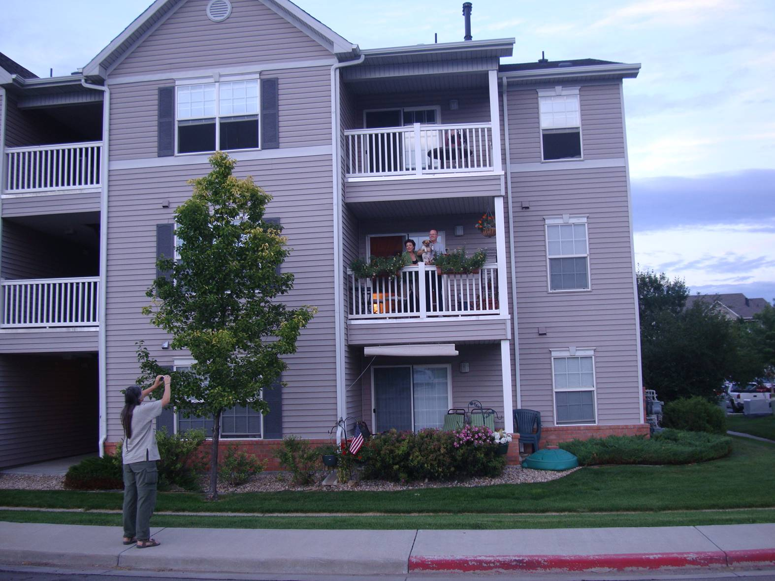 Picture: Thomas and Marina on their apartment balcony, Longmont,  Colorado.