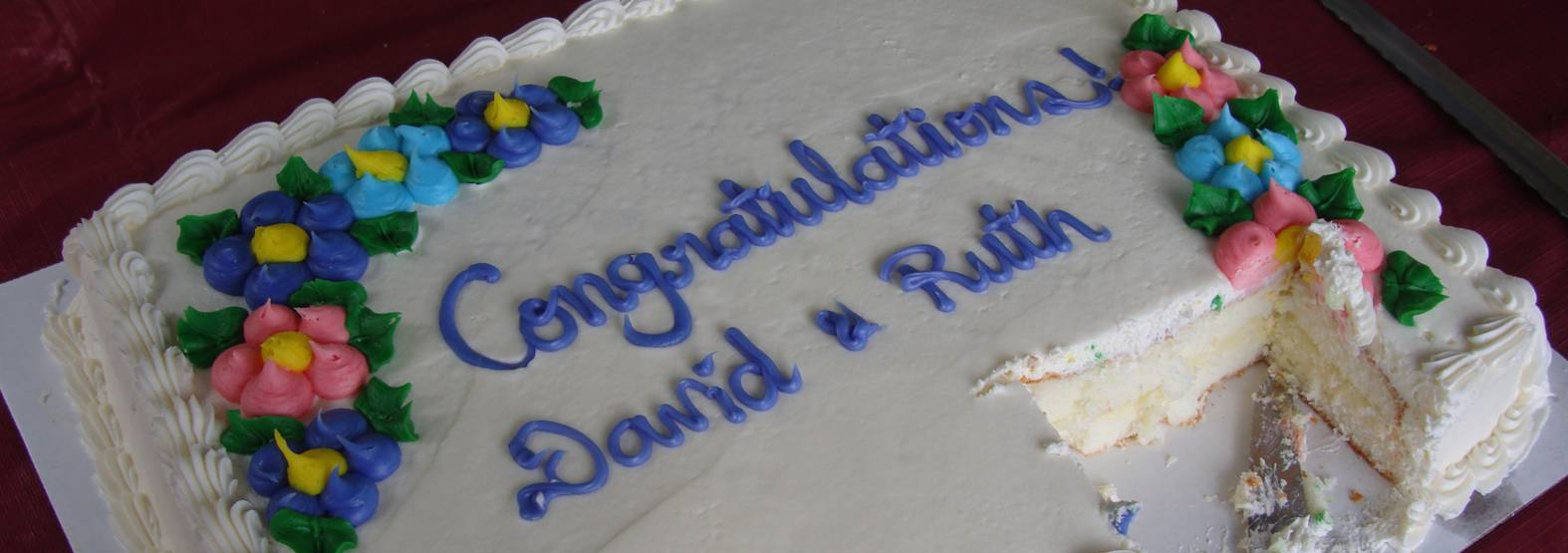 picture:  the wedding continues with a big family party in Ruskin, B.C..  Thanks for the cake, Cath.