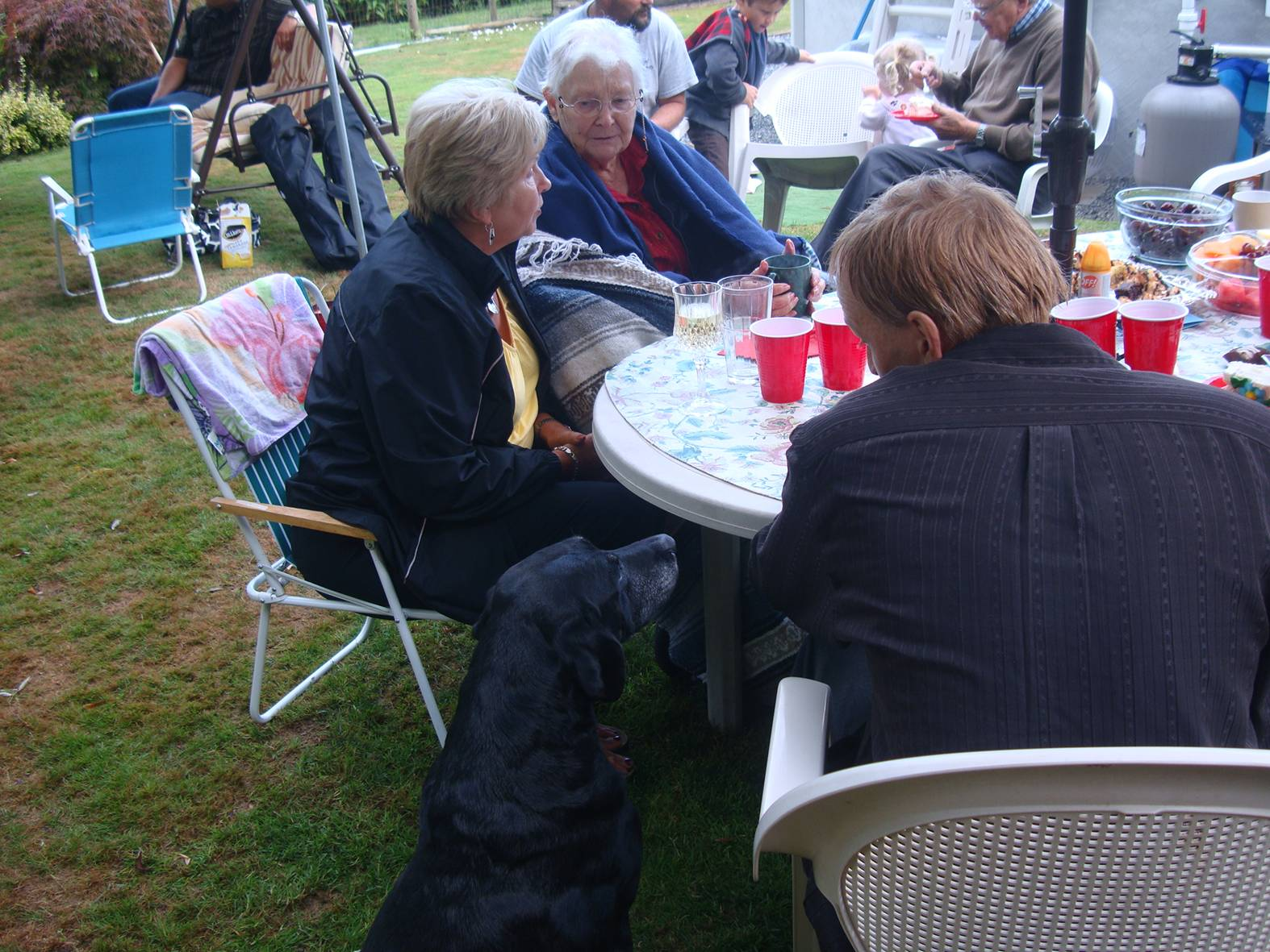 picture: the wedding party in Ruskin, B.C.  High overcast but no rain. My mother and Cousin Reta get a chance to chat, while one of several dogs hopes for a treat.  Ruskin, B.C.
