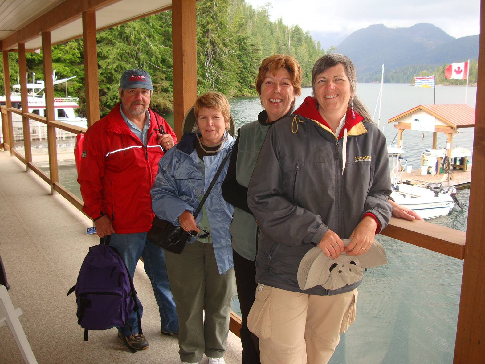 picture:  Clint, Linda, Joelle (our host) and Ruth on the balcony outside our room.  Nootka Sound Resort, B.C.