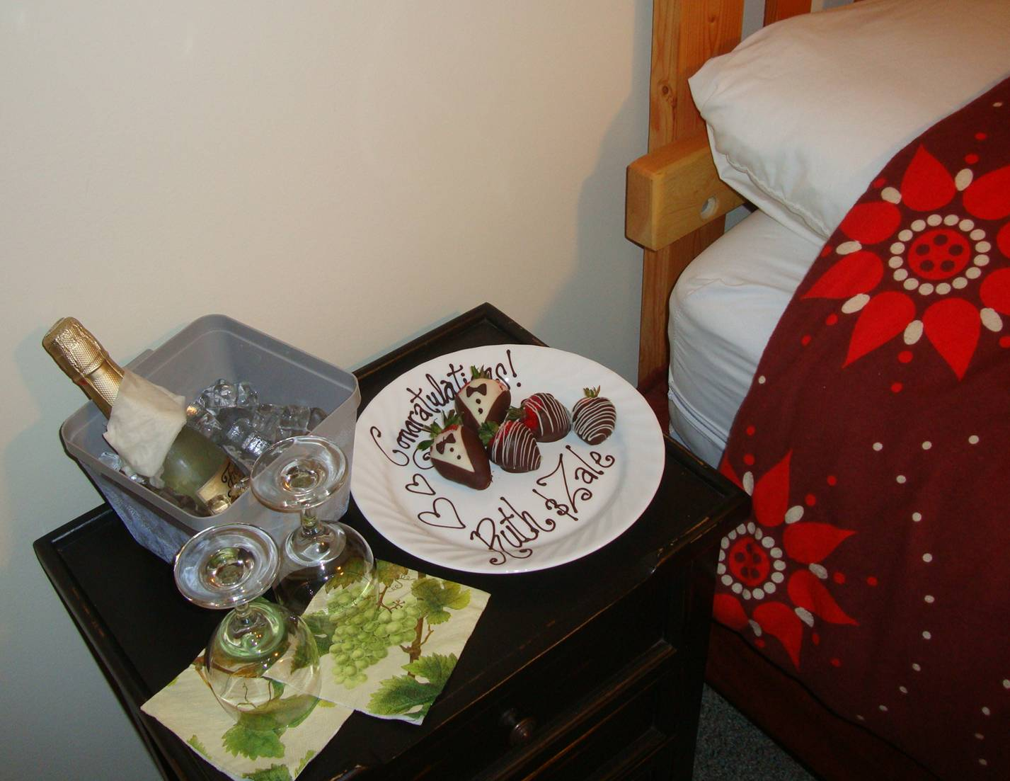 picture:  a bottle of bubbly and a note written in chocolate were waiting by our bedside.  Kimberly, the chef at Nootka Sound Resort, is an artist.