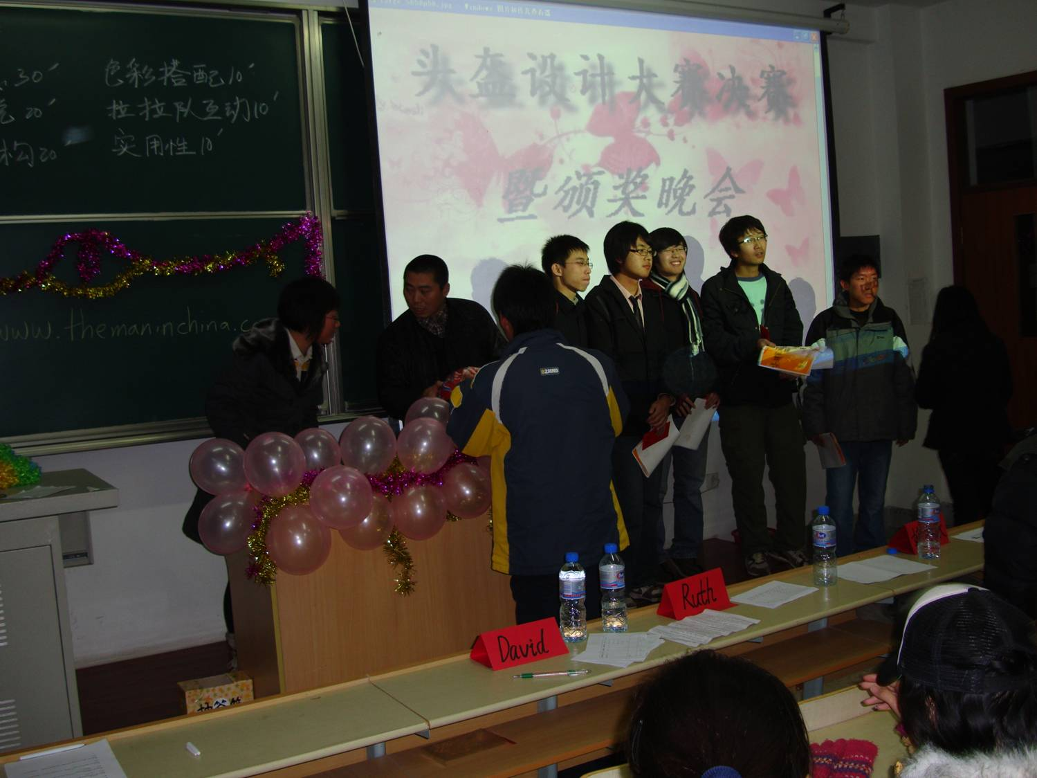 Winners accept their prizes,  Helmet Design Competition,  Jiangnan University,  Wuxi,  China