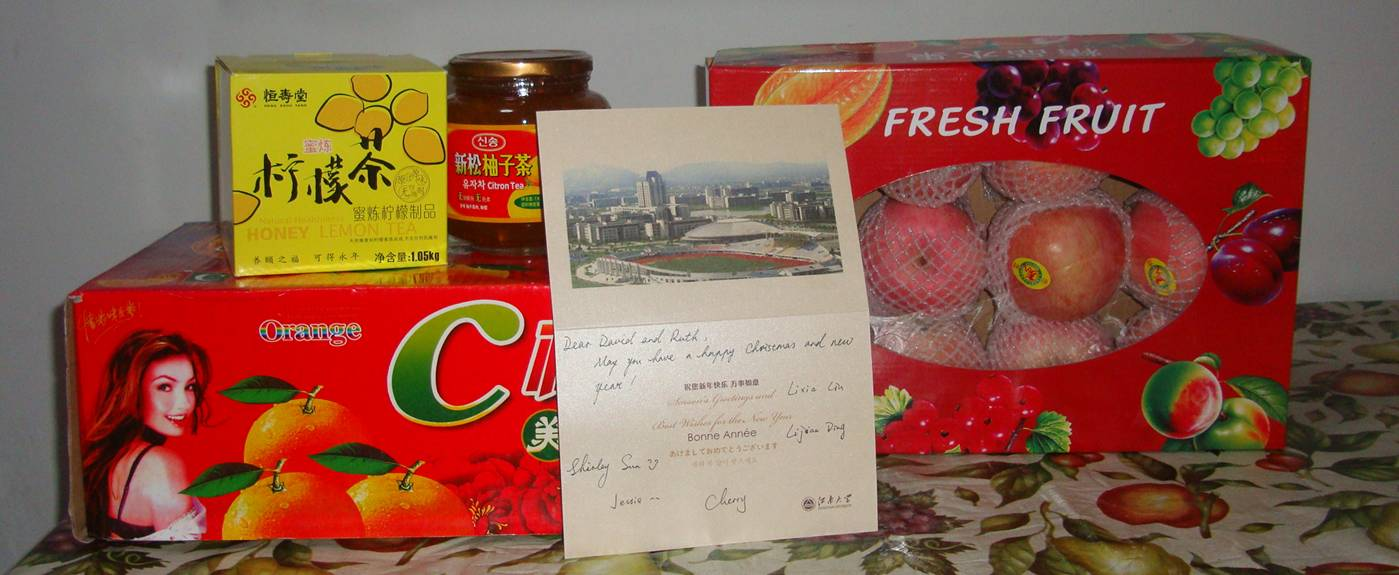 Picture:  Christmas gifts from our wonderful administration.  Jiangnan University, Wuxi, China
