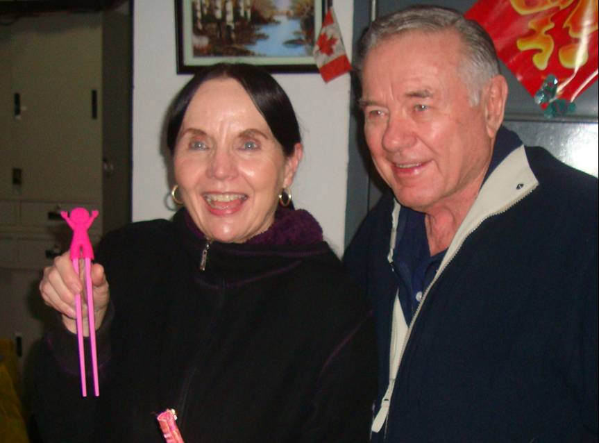 Picture:  Bonnie and Don Bird.  Bonny needs training wheels on her chopsticks.  Jiangnan University, Wuxi, China