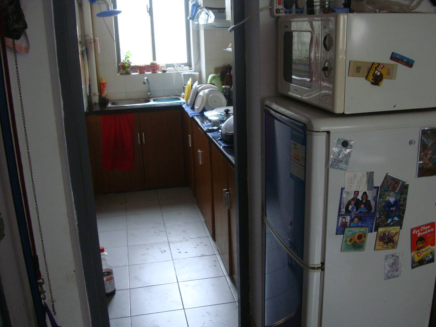 Picture:  There's no room in our kitchen for the fridge and microwave.  Apparently feng shui rules say that a fridge should not be near a stove anyway.  Jiangnan University, Wuxi, China (I don't belive in feng shui.)