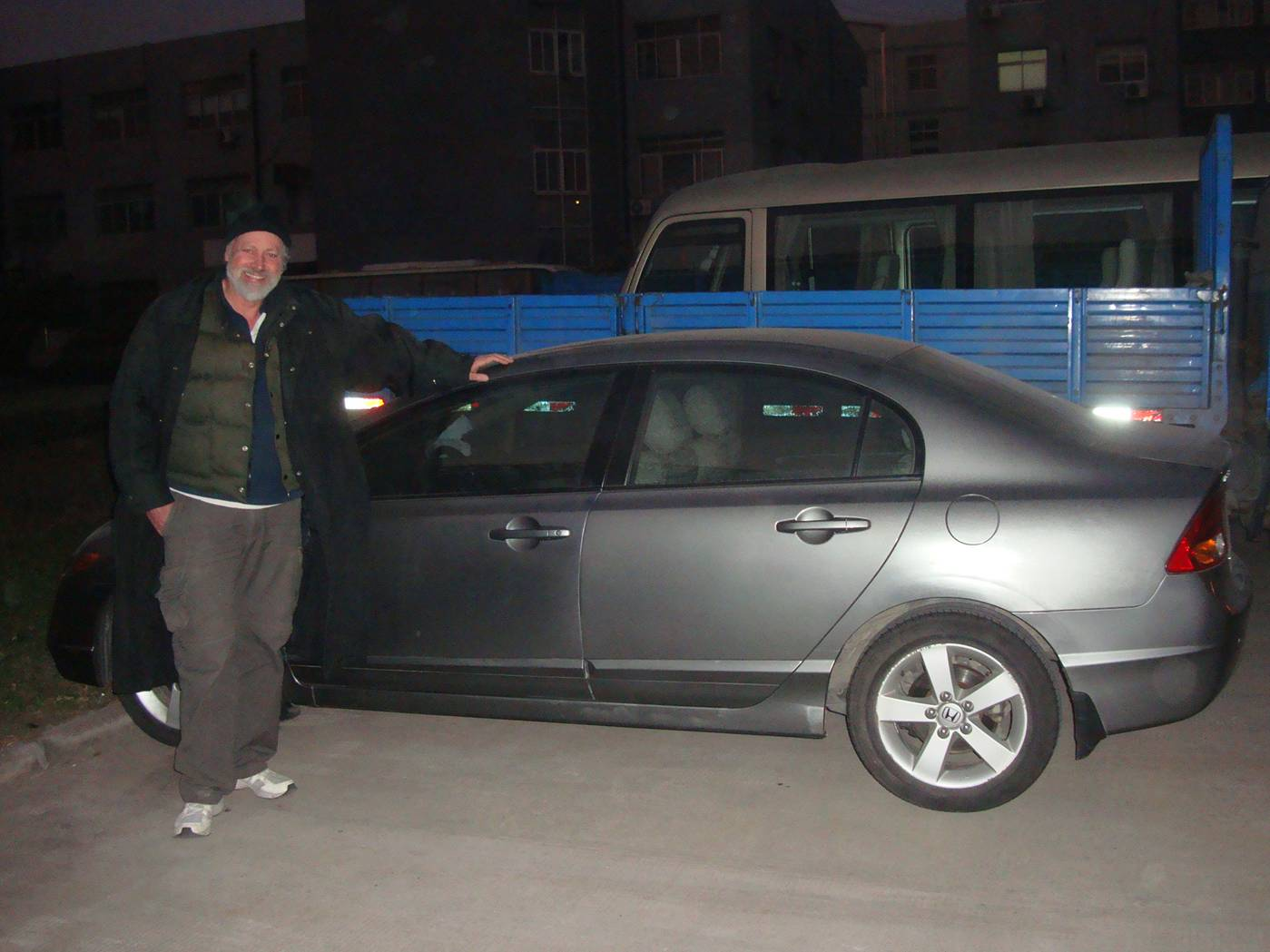 Picture:  The rental Honda back on the lot with no additional scratches.  Whew.  Wuxi, China