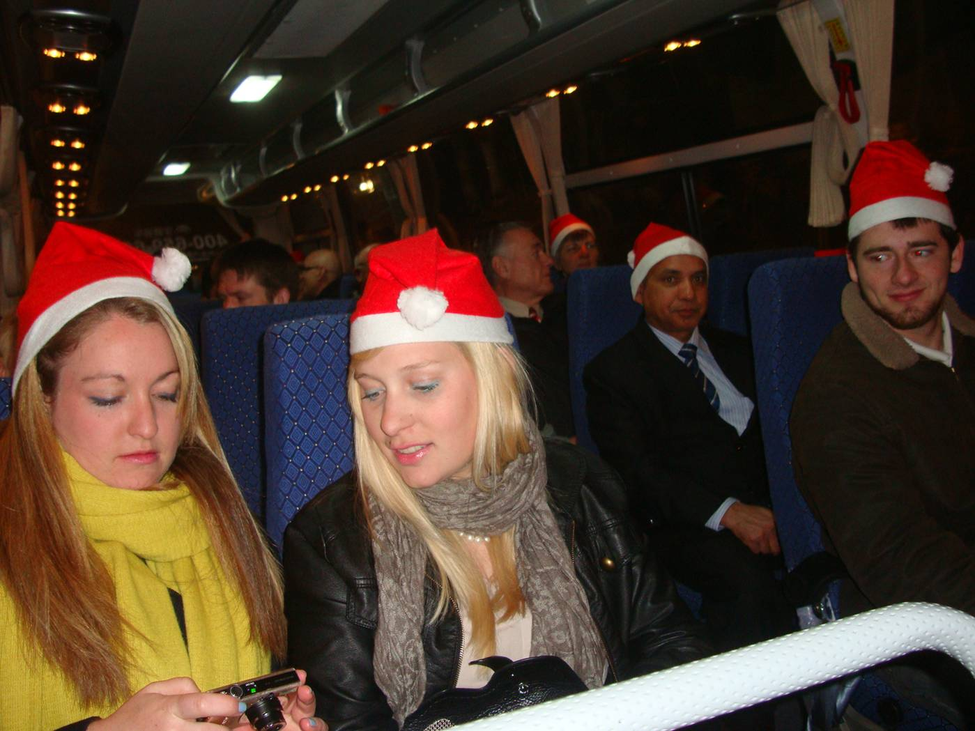 Picture:  On the bus on our way to a Christmas feast.  Wuxi, China.