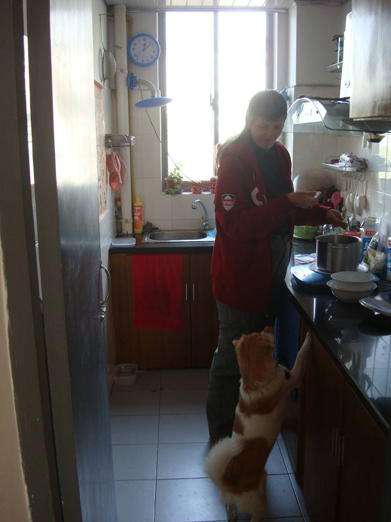 Picture:  Ruth gives cooking instructions to GouGou in our tiny kitchen.  Jiangnan University, Wuxi, China