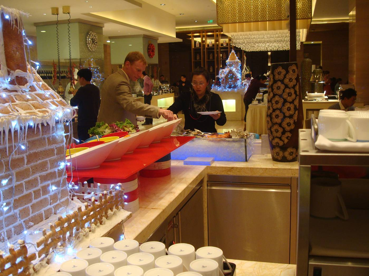 Picture:  Christmas buffet at the Sheraton Hotel.  Wuxi, China.