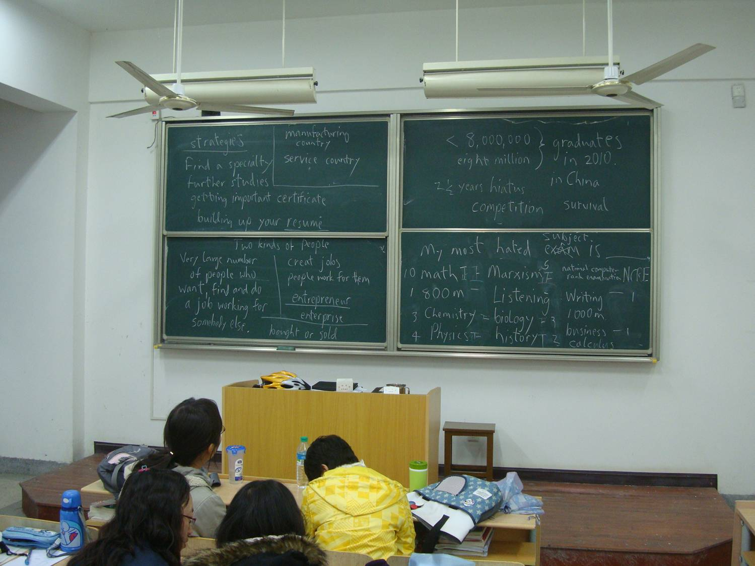 Picture:  The blackboard from one of my oral English classes.  English majors are going to have a tough time in the job market when they graduation.  They need strategies.  Jiangnan University, Wuxi, China