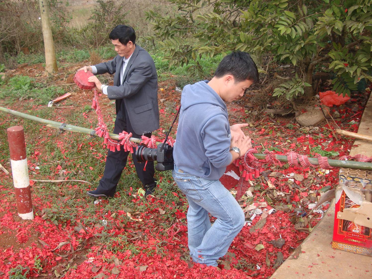 Picture: This is how the fireworks are laid out.  Yan Feng village.  Hainan Island, China
