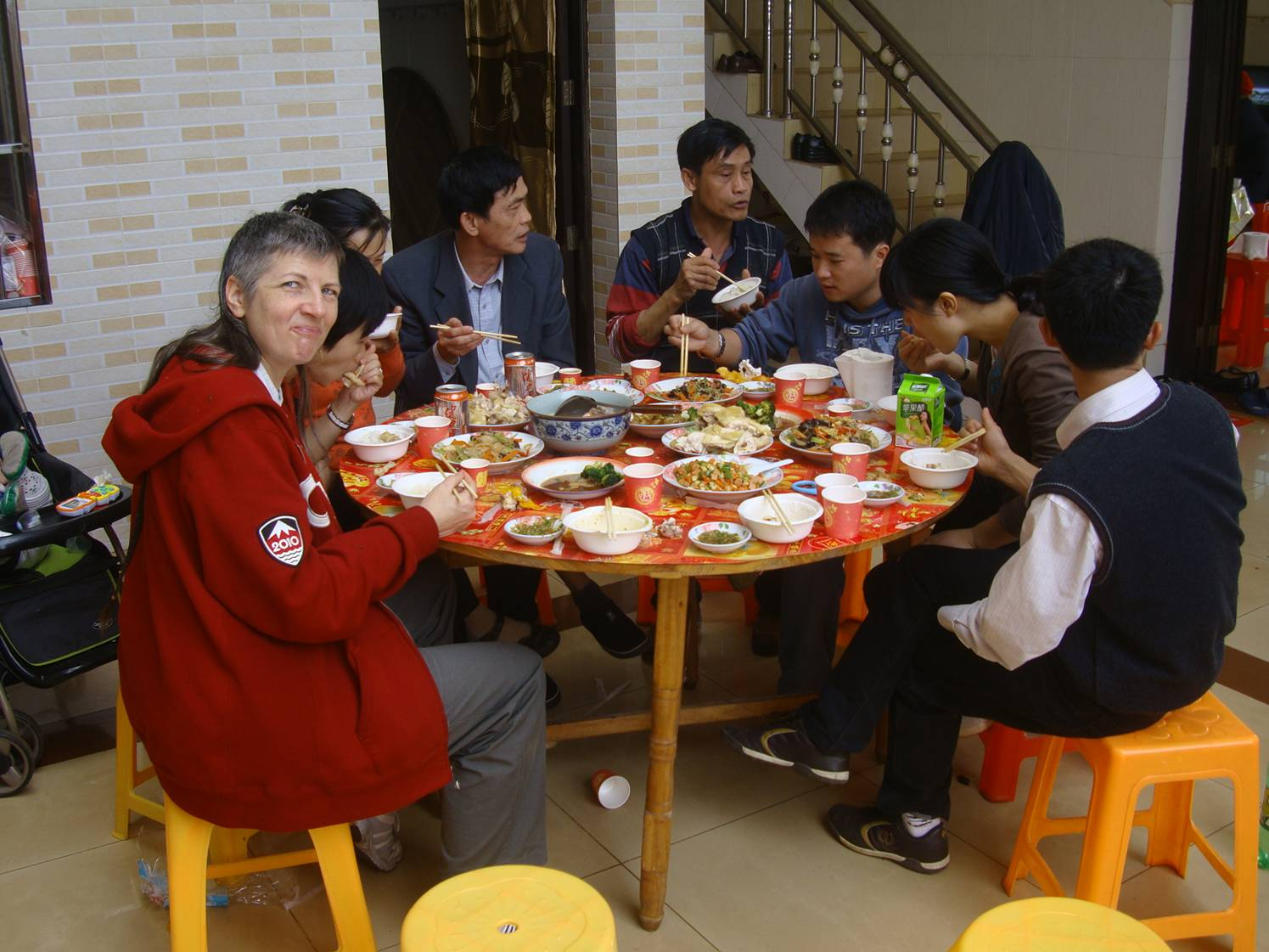 Picture:  Lunch with Xiao Hua's family in Yan Feng village near Haikou on Hainan Island, China