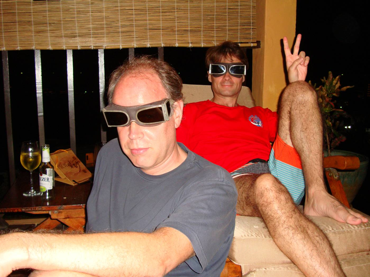 Picture:  Doug and Ken in Japanese aviator sunglasses circa WWII.  Phuket, Thailand.