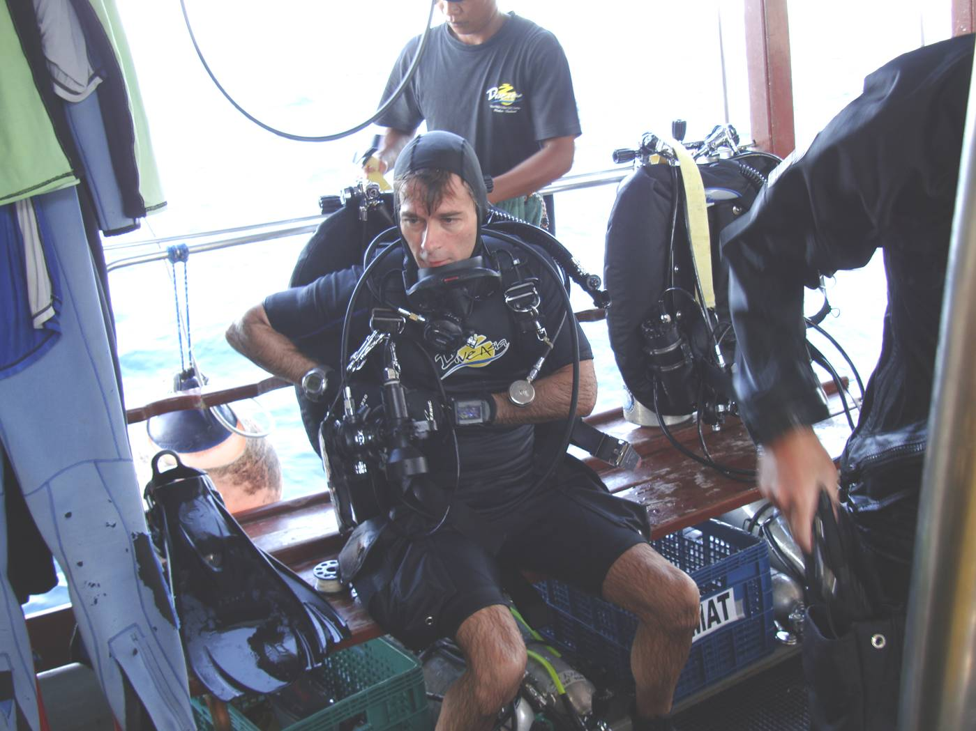 Picture:  Doug tricked out in his high tech diving gear on board Dive Asia out of Karon Beach, Phuket Island, Thailand.