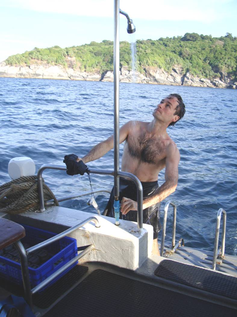 Picture:  The well equipped dive boat had fresh water showers.  Dive Asia out of Phuket, Thailand