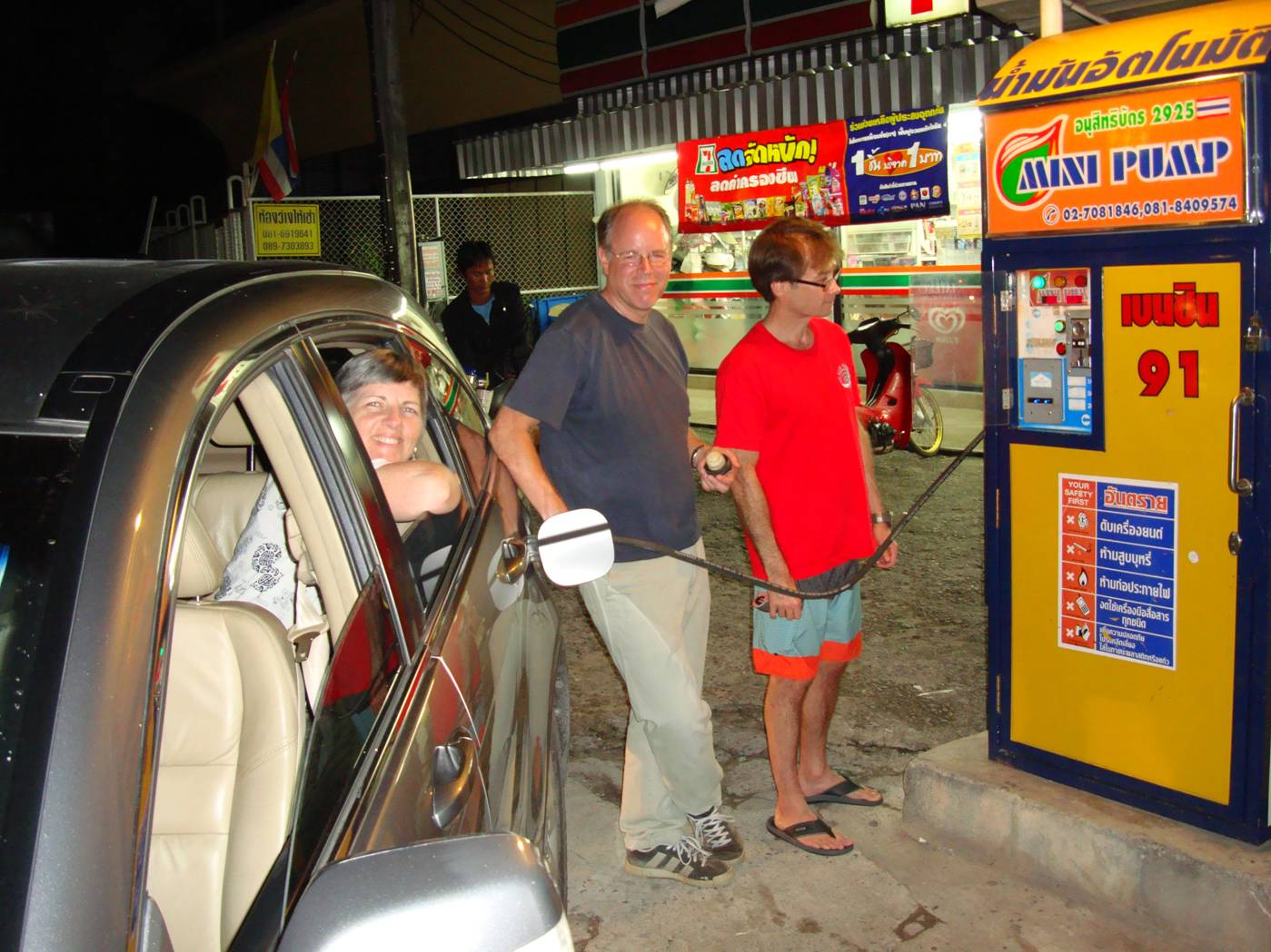 Picture:  Gassing up took a while, but we weren't in a hurry.  Phuket Island, Thailand