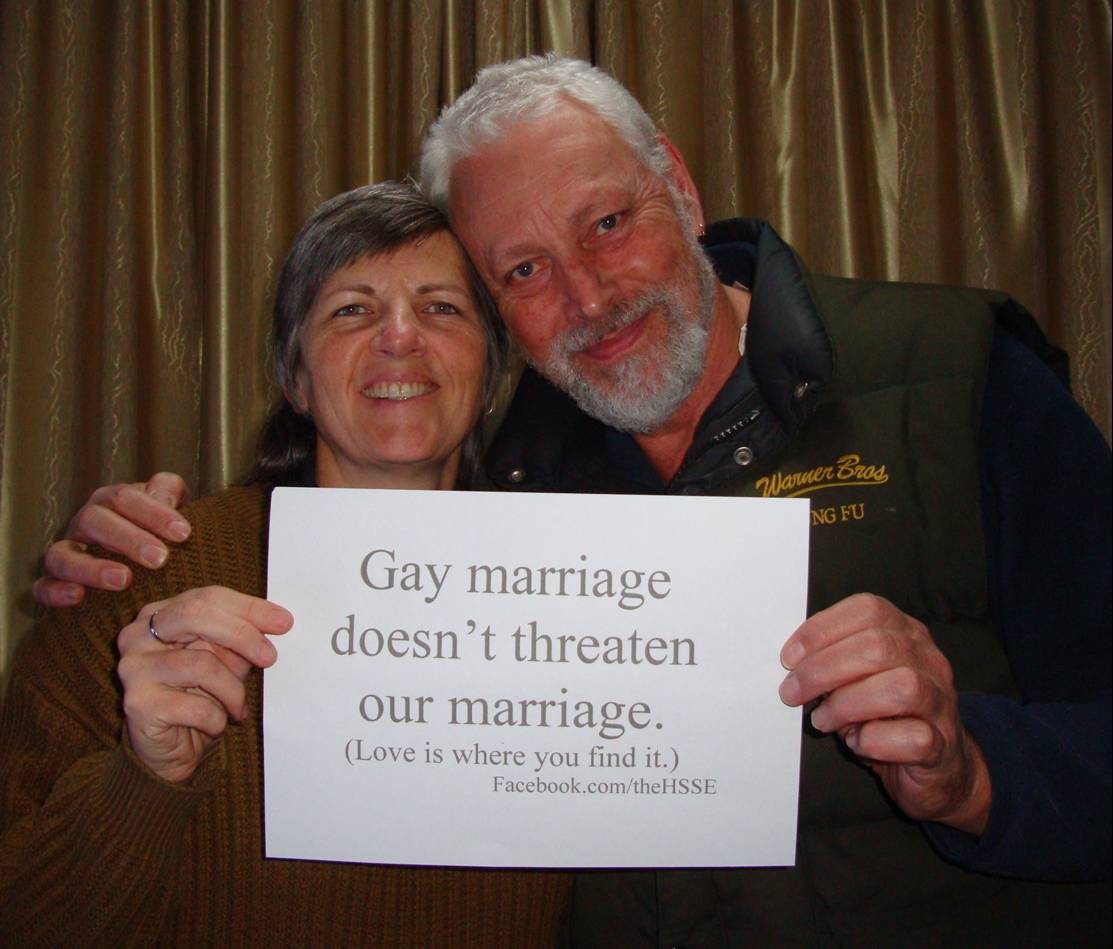 Picture:  There's just no way we feel threatened by gay marriage.  Not our business.
