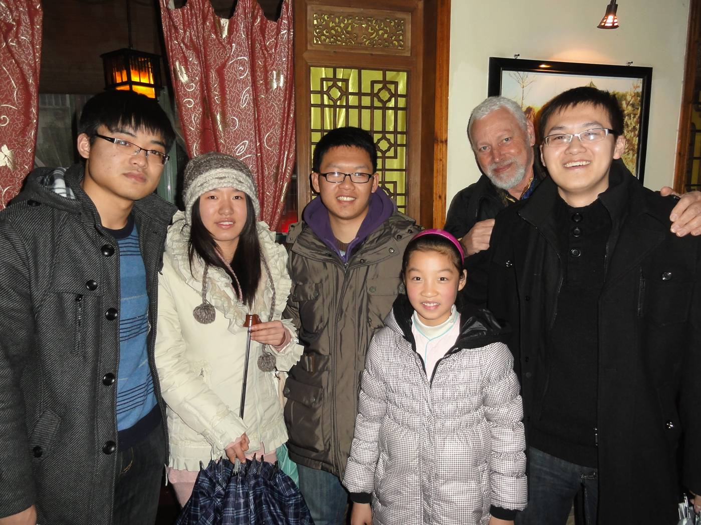 Picture:  Our friend George and his cousins in a tea house, Wuxi, China
