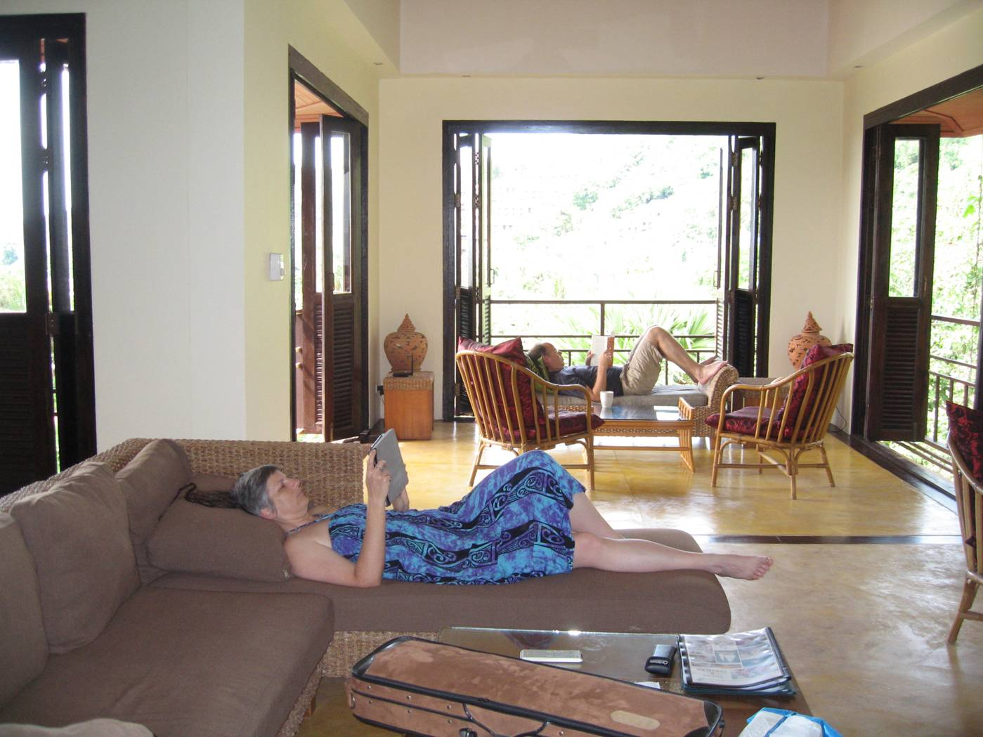 Picture:  Ruth and Ken relax in the villa, Karon Beach, Phuket, Thailand.