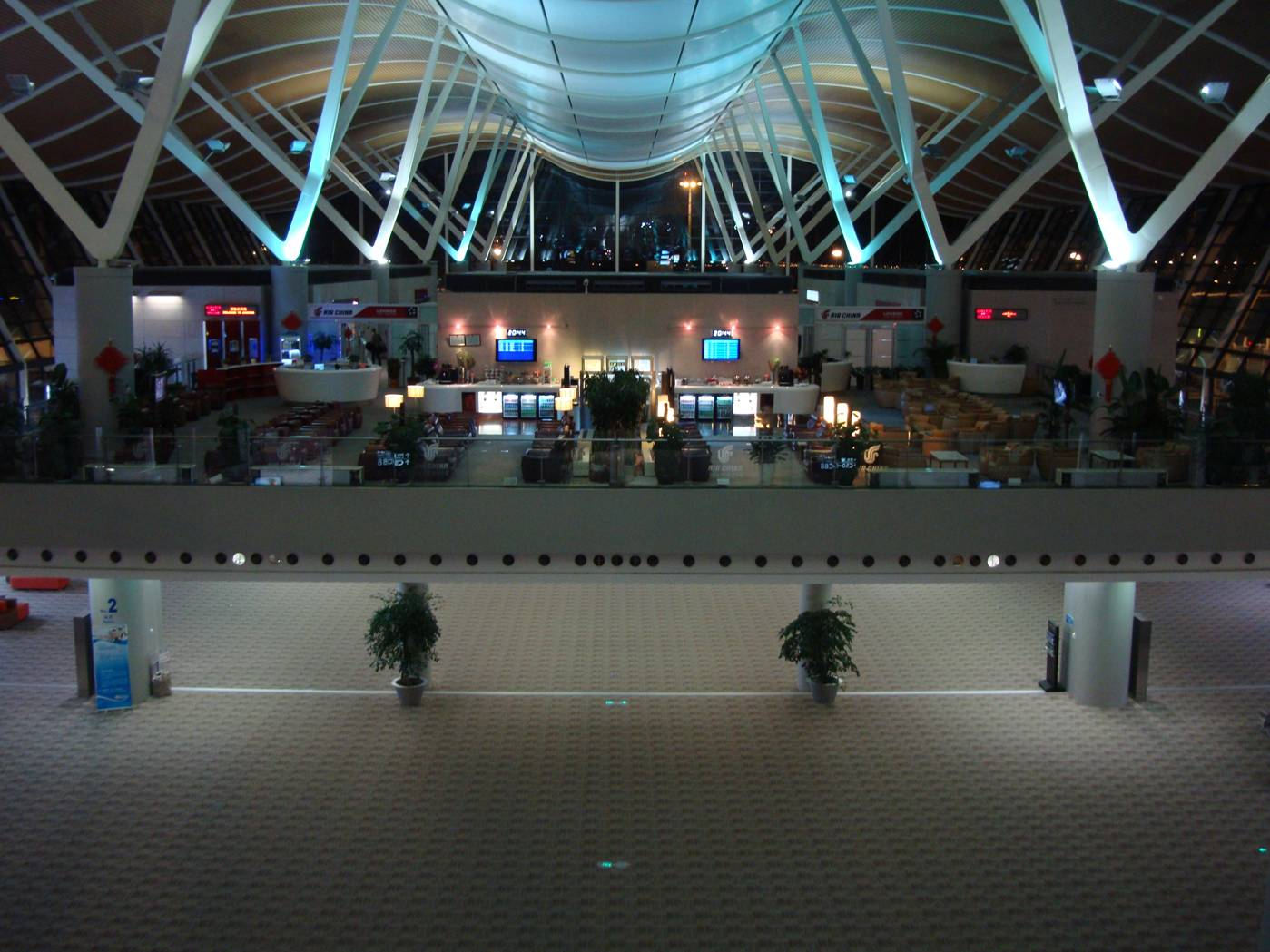 Picture:  Shanghai Pudong airport at 21:10, our flight time.  Much of the airport was deserted.