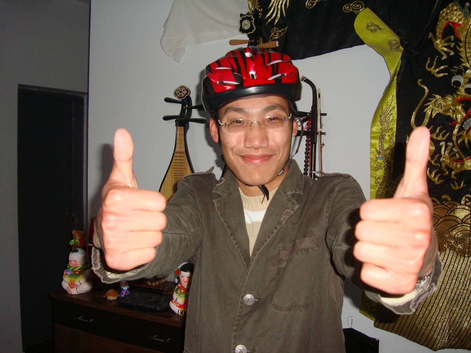 Edward asked for a helmet.  I knew this guy was smart.  Jiangnan University,  Wuxi,  China.