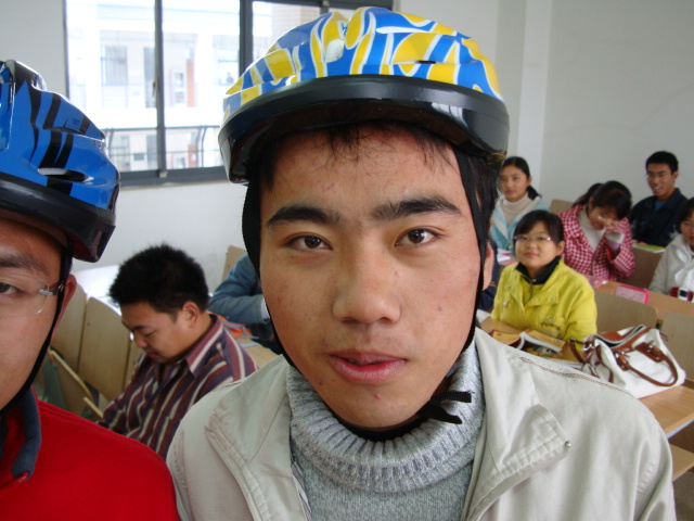 To paraphrase Forst Gump,  smart is as smart does.  One of the first 50 students to buy a bike helmet,  Jiangnan University,  Wuxi,  China