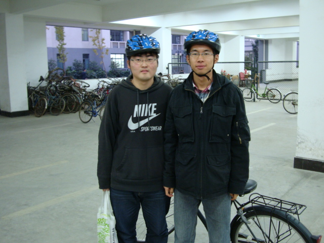 Not only bought helmets,  they are wearing them.  Way to go,  guys.