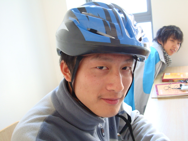 Stephen true to his word.  One of the first 50 students to buy a bike helmet,  Jiangnan University,  Wuxi,  China