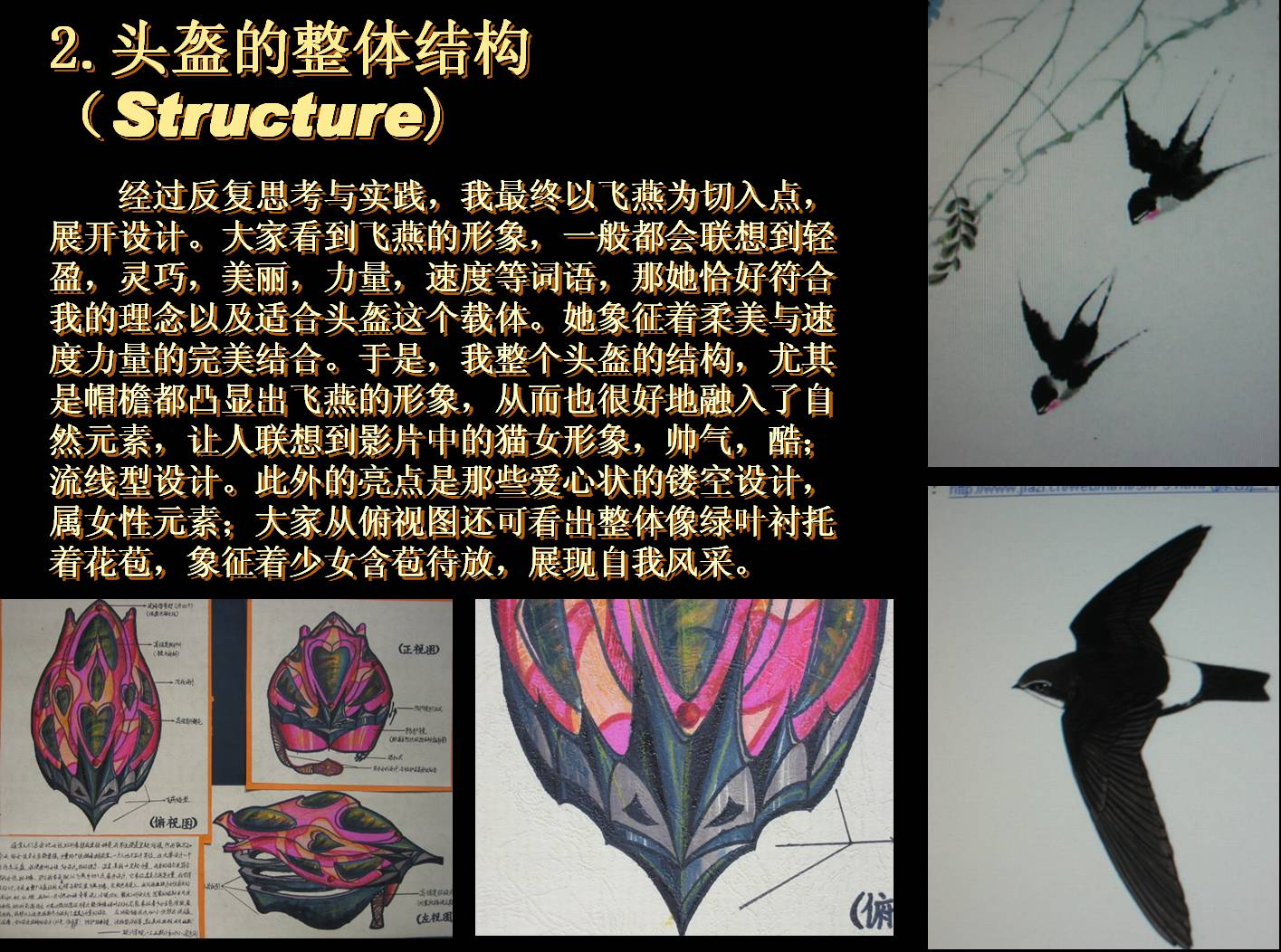 Inspired by the streamlined shape of swallows.  Helmet Design Competition, Jiangnan University, Wuxi, China