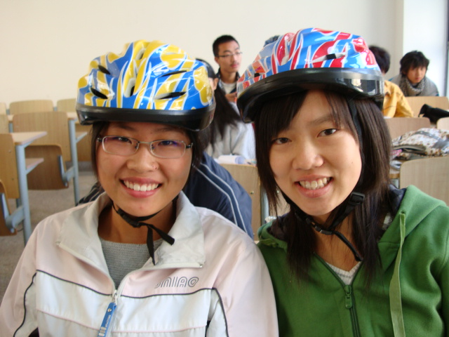 One of the first 50 students to buy a bike helmet,  Jiangnan University,  Wuxi,  China