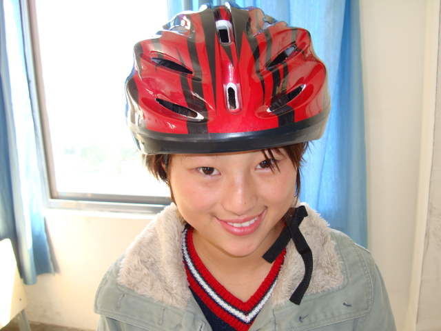 Winkle,  one of my young heroes.  One of the first 50 students to wear a bike helmet,  Jiangnan University,  Wuxi,  China