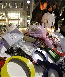Google.  Living up to the company motto: Do no evil. Protesters lay wreaths at Google office in Beijing.  Picture filched from the Washington Post with thanks.