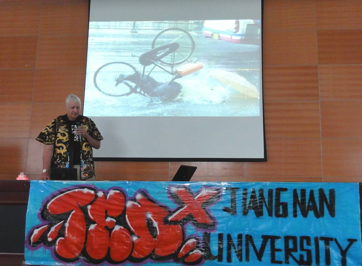Picture:  My TEDx talk at Jiangnan University, Wuxi, China stressing the need for bicycle helmets.