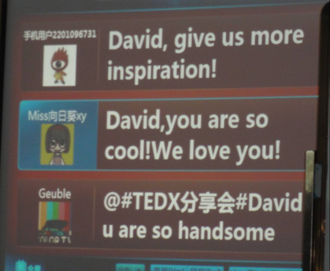 Picture:  instant audience feedback at TEDx Jiangnan University. Wuxi, China
