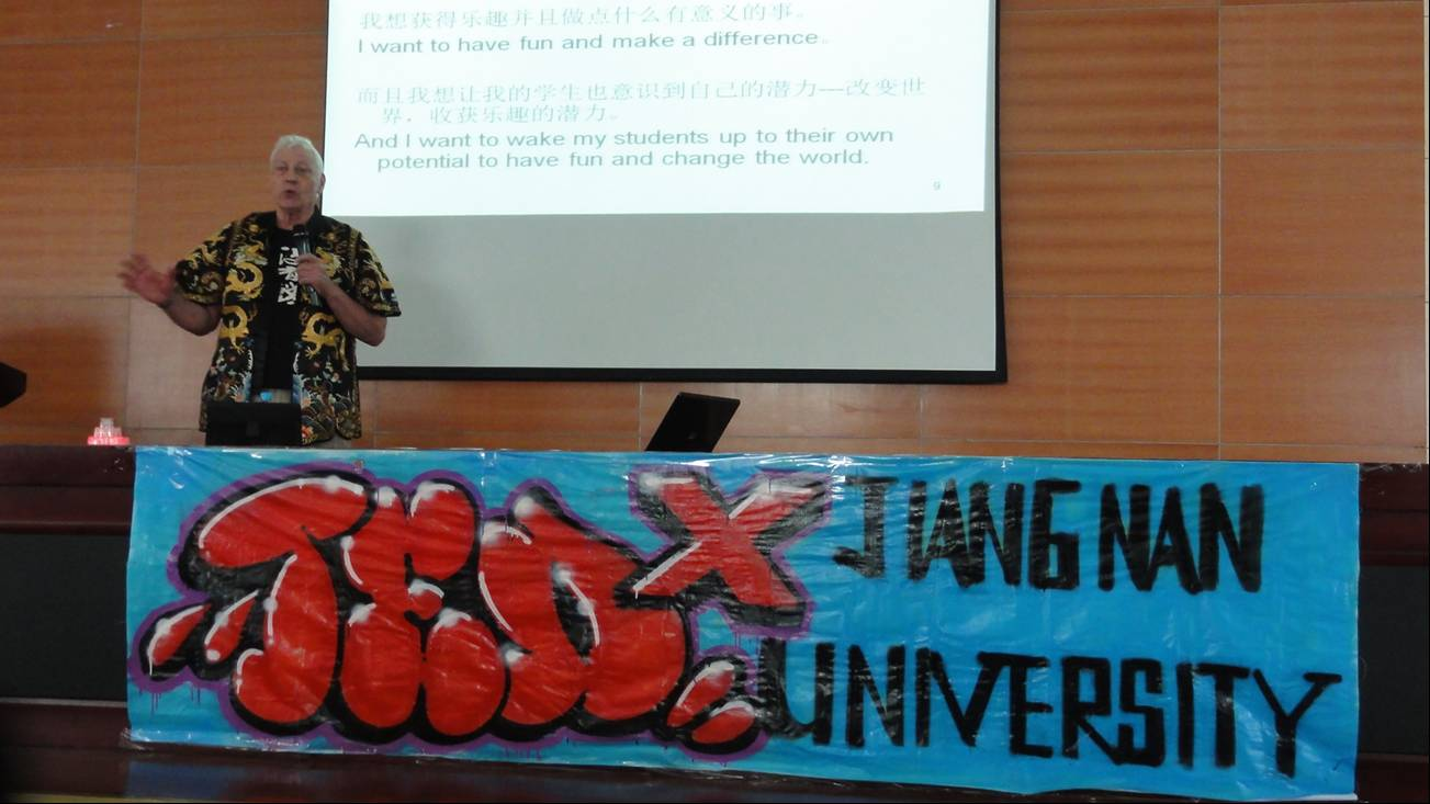 Picture:  My TEDx talk.  I'm just getting warmed up, after sining my theme song.  Jiangnan University, Wuxi, China