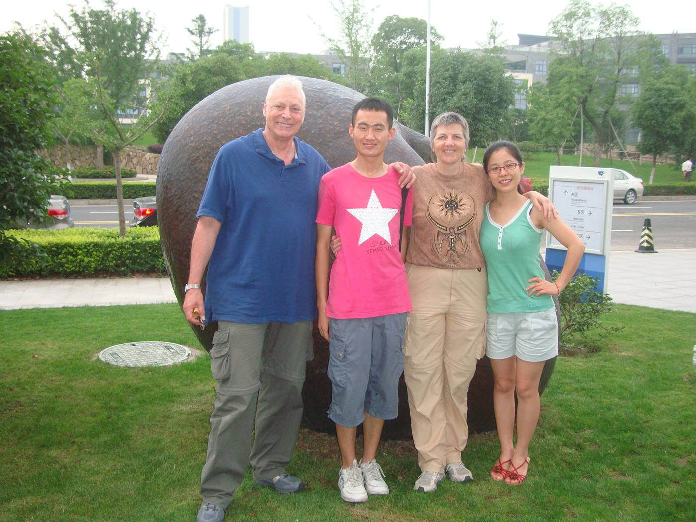 Picture:  Left to right, David Scott, Chen Fu, Ruth Anderson, Carolyn.  Our wonderful Chinese teachers.  Jiangnan University, Wuxi, China