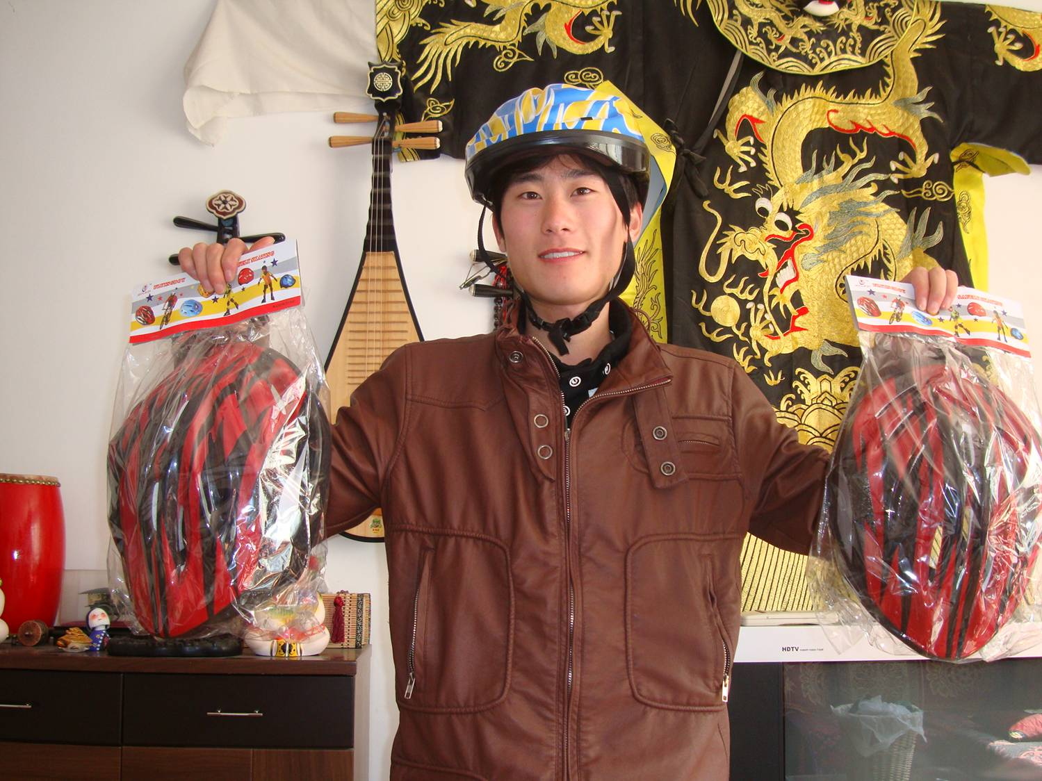Edward my helmet salesman.  Hope for the future of humanity.  Jiangnan University,  Wuxi,  China