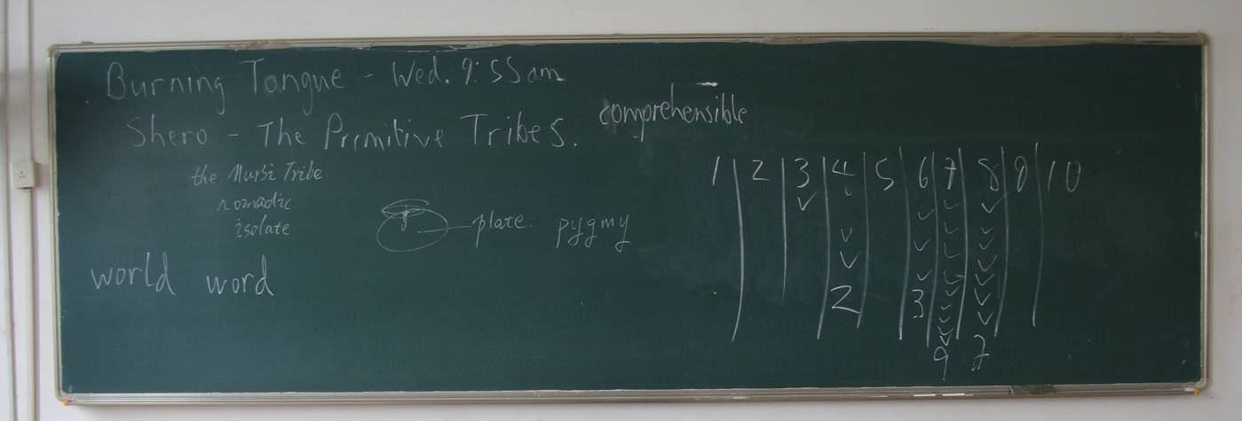 Picture:  The class assessment of the presentation on primitive tribes.  A bit more generous than I would have been.  No, a lot more generous.  Jiangnan University, Wuxi, China