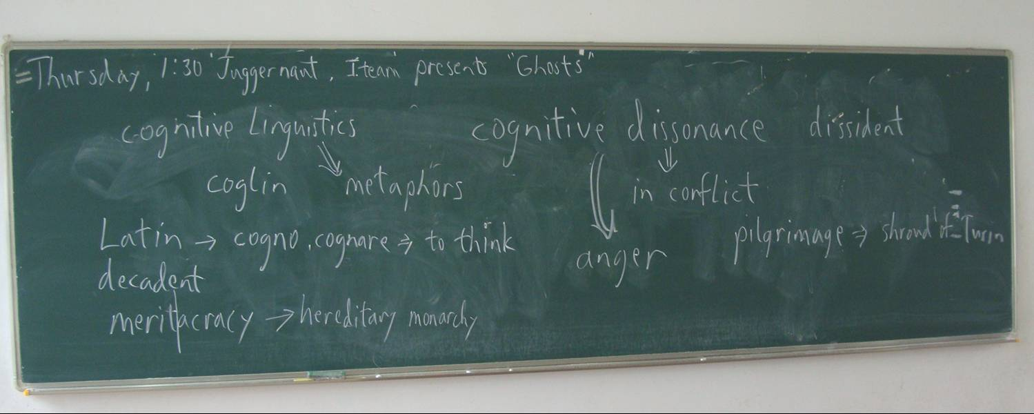 "Picture:  My oral English classes are very free ranging as I teach English majors big words. The class began with a student presentation about ghosts and a poll on whether they really exist, then proceeded to discuss the recent non-event, The Rapture. The blackboard shows part of the discussion of ""cognitive dissonance"" and the reason people believe things that go against all reason.  Jiangnan University, Wuxi, China"